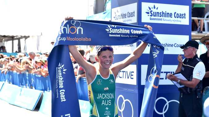 MEMORABLE WIN: Emma Jackson crosses the line first at Mooloolaba this afternoon.