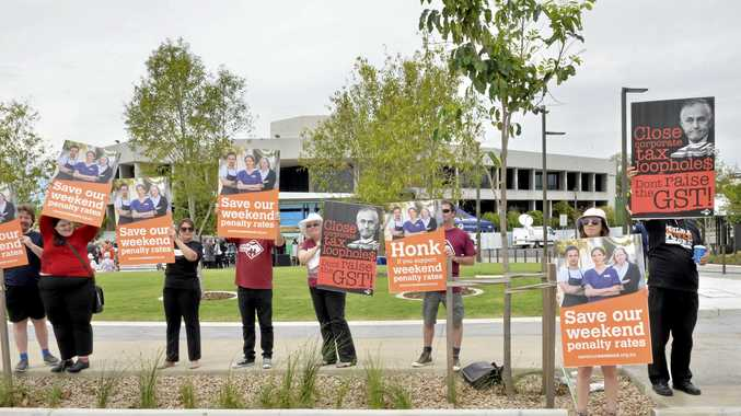 LOST MONEY: Protesters wanting to keep their weekend penalty rates.