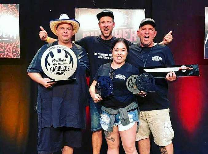 WINNERS ARE GRINNERS: Lukas Armstrong, sponsor Reuben Sharples, Tamara Edgar and Daniel White after their win at Meatstock New Zealand.