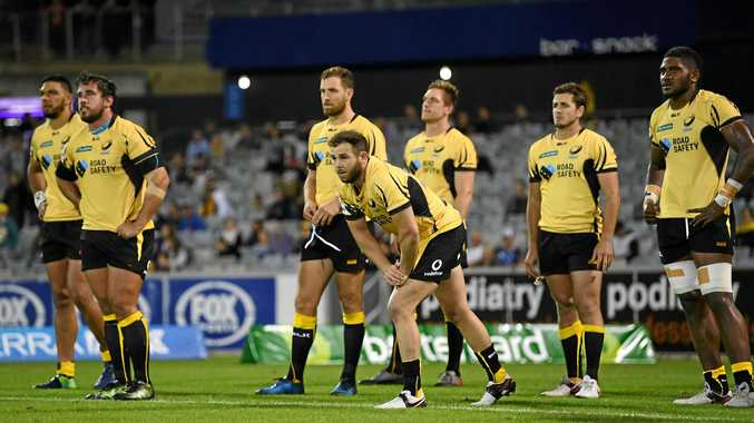 Western Force players react after going down to the ACT Brumbies on Friday night. The Force are among the teams in danger of being cut from the Super Rugby competition.