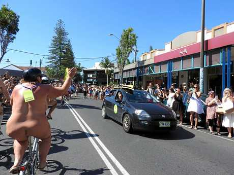 The annual World Naked Bike Ride Byron Bay on Sunday was popular with spectators.