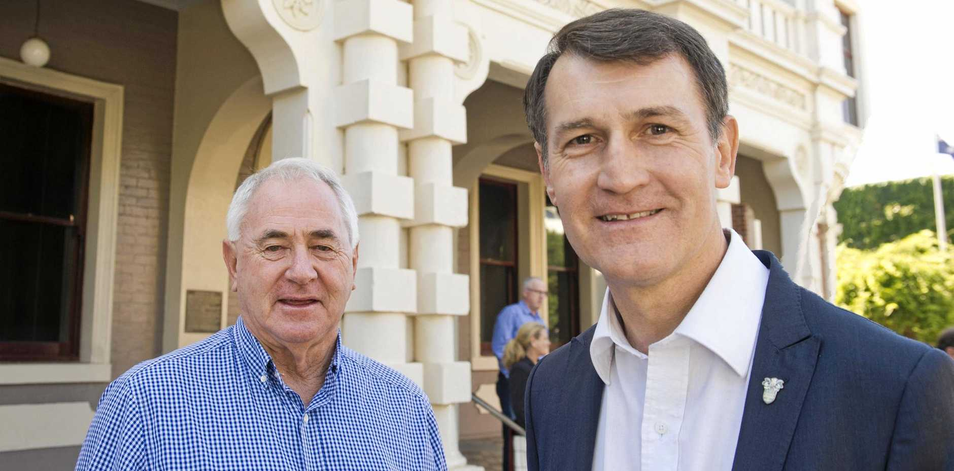 MAYORS MEET: TRC Mayor Paul Antonio and Brisbane Lord Mayor Graham Quirk prepare for the Council of Mayors meeting in the Garden. City.