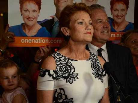 Senator Pauline Hanson addresses a Pauline Hanson's One Nation election function in Perth on Saturday, March 11, 2017. Labor has won the WA election after a big swing away from the Liberal government.