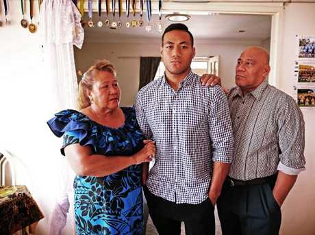 Simona, pictured with his parents, was deregistered by the NRL after his ex-girlfriend blew the whistle on his illegal betting on NRL matches.