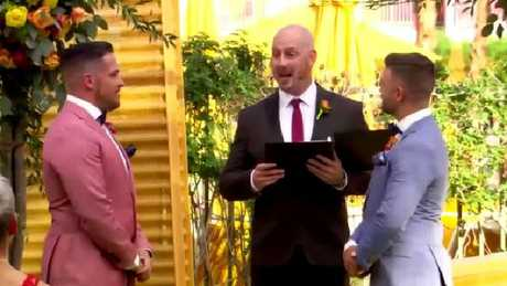 Despite the crushing news, Chris happily weds his partner Grant.