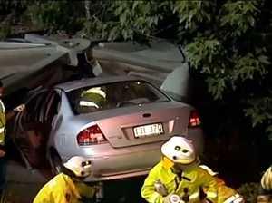 VIDEO: Elderly Toowoomba couple crashes into water tank