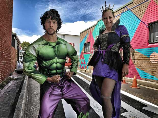 ELYSIUM: The revamp of Fletcher Lane is already drawing a crowd. Seen here are local super heroes Matthew Baxter and Janice Gifford.