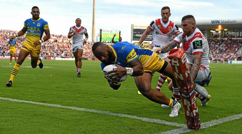 Semi Radradra of the Eels scores one of his four tries last week against the Dragons.