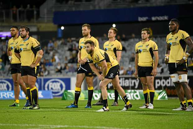 Western Force players react after losing the match against the ACT Brumbies  at GIO Stadium in Canberra