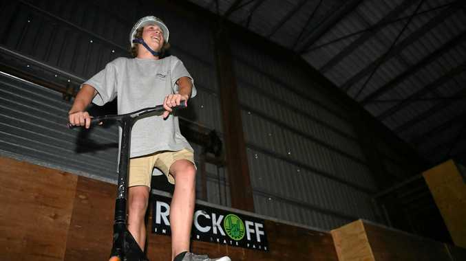 SCOOTER: 15-year-old Dylan Sinclair shows off his skills at Rock Off Hervey Bay.