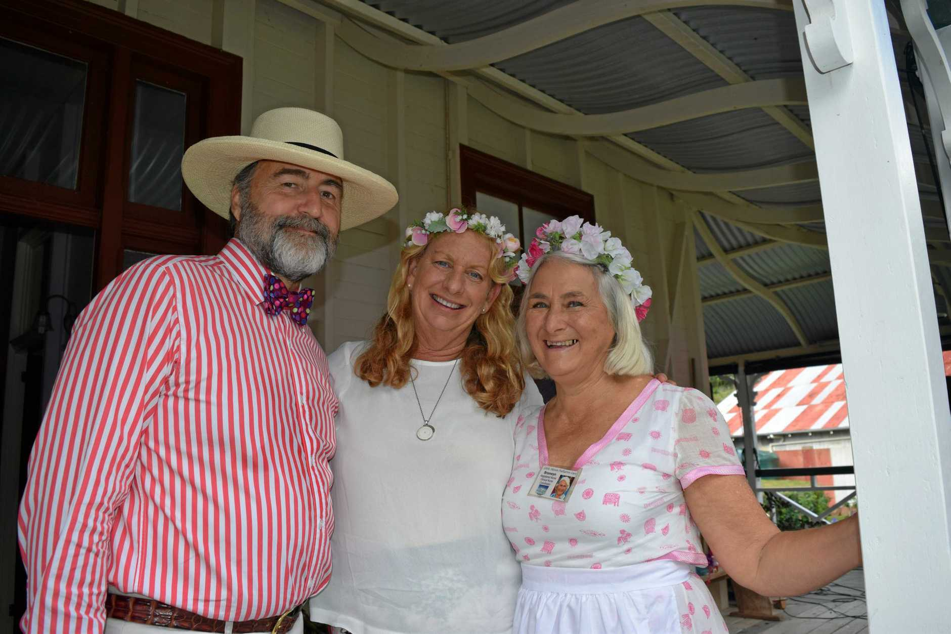 Springtime at Springhalls is always a big social and fundraising event. Event hosts and organisers (from left) George Springhall, Sue Manton, and Bronwyn McFarlane.