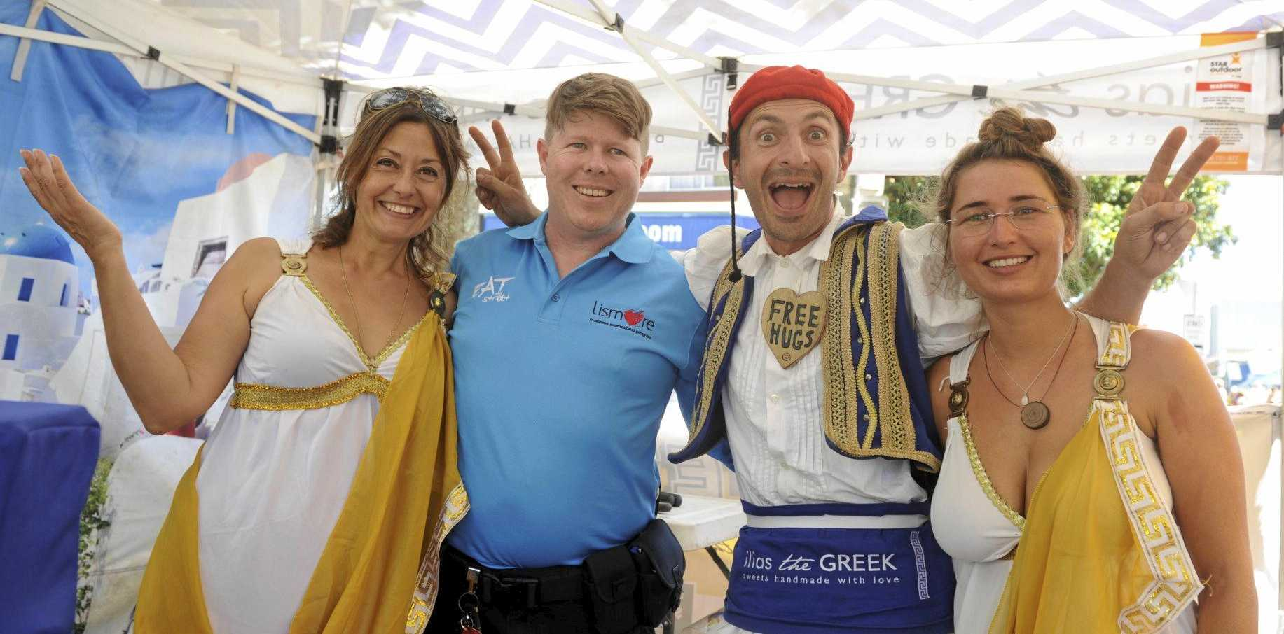 COOKING WITH THE GAS: Olga Pagratti,Cameron Smith, Ilias the Greek and Nicole Schnetzer at Eat the Street.