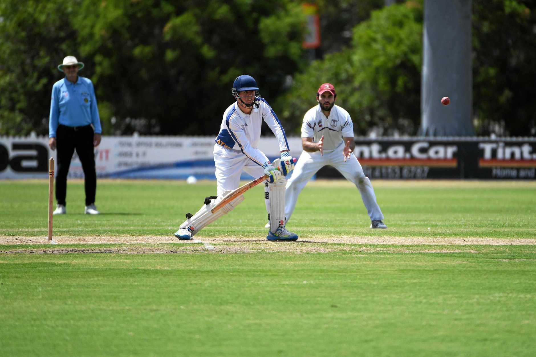 CRICKET GRAND FINAL: The Waves batsman Brendan Schultz faces a ball at Salter Oval.
