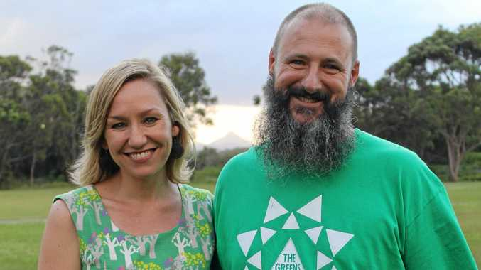 Greens Nicklin candidate Aaron White with Senator Larissa Waters.