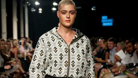 Model Stefania Ferrario at the Aurora Style aGender fashion show held in Sydney.