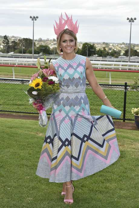 Natalie Zielke runner up Fashions on the Field at Clifford Park Melbourne Cup Race Day. She is wearing another one of her creations.