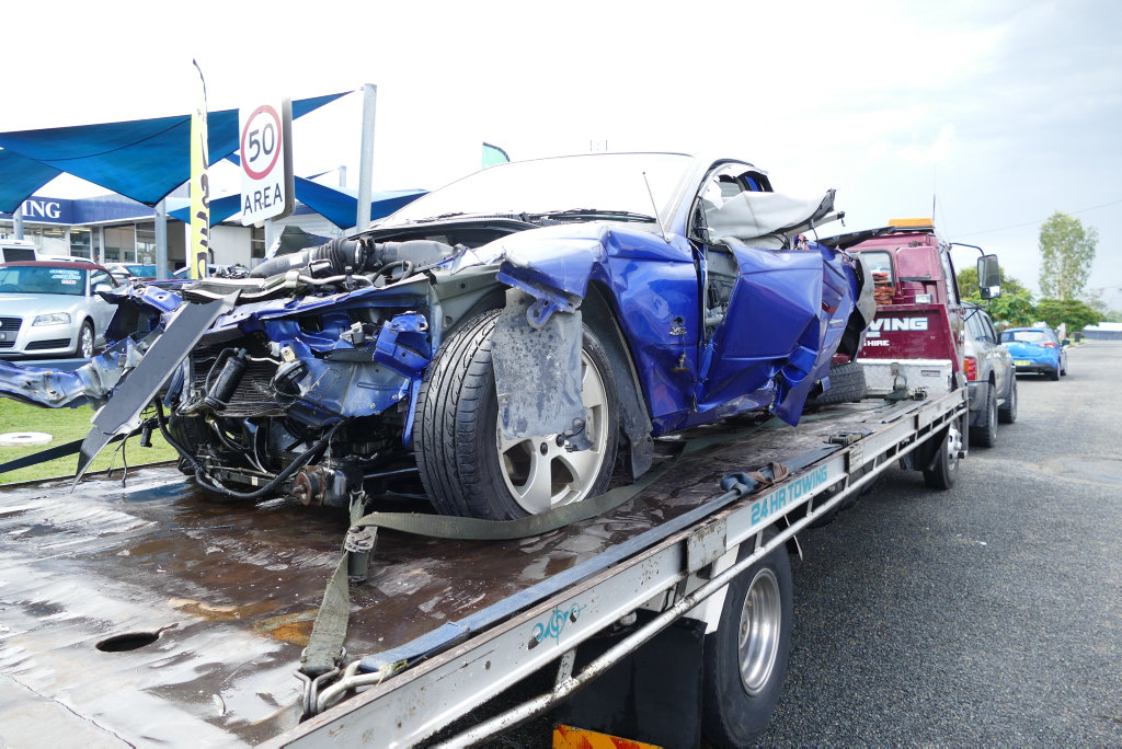 The blue Holden Commodore ute which crashed into a bridge at Tyndale on Monday injuring two people.