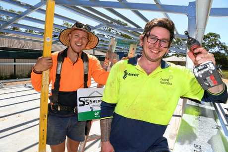 Tradie Jake Chappel with labourer Zachery Joseph on site in Moore Park.