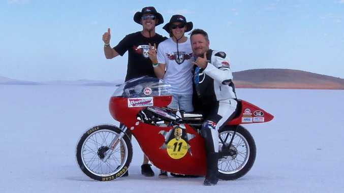 SPEED KINGS: AAA Racing's Mitchell Afflick, Joanne Fysh and Jean-Paul Afflick with the team's record-breaking 'faired' bike.