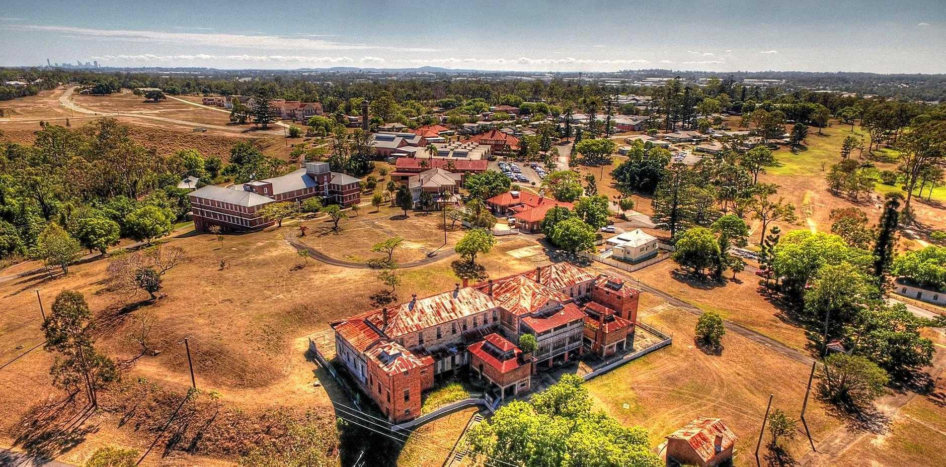 An Aerial shot of the The Park precinct, originally named as the Woogaroo Lunatic Asylum, opened in 1864.