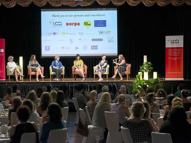 The panel at Lismore Women's Festival High Tea in conjunction with LCCI and NORPA: Pam Brook, co-founder of Brookfarm, Sarah Karam, co-founder of Belle General and Belle Central Cafés, Donna Kildea, chief operating officer Summerland Credit Union, Kristy Jones, awarded COBA Emerging Leader Award in 2015 and marketing manager Southern Cross Credit Union, Lois Randall, screen producer and arts manager, and Rhoda Roberts, festival director and producer.