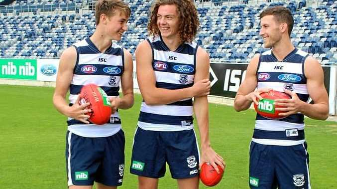 Wylie Buzza (third from left) with other draftees in the Geelong Cats jersey.Contributed / Geelong Cats Facebook page.