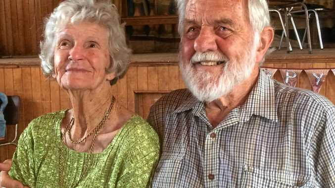Ron and Nancy Gooding at their 70th wedding anniversary on February 4, 2017 and on their wedding day, February 4, 1947 (inset).
