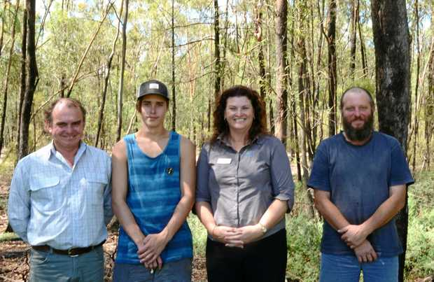 ON THE JOB: Congratulating Kody Doyle (second from left) are Andrew Hooker of Inglewood Organic Chicken Farms, Julie Black of GTT and Tony Badesso (supervisor).
