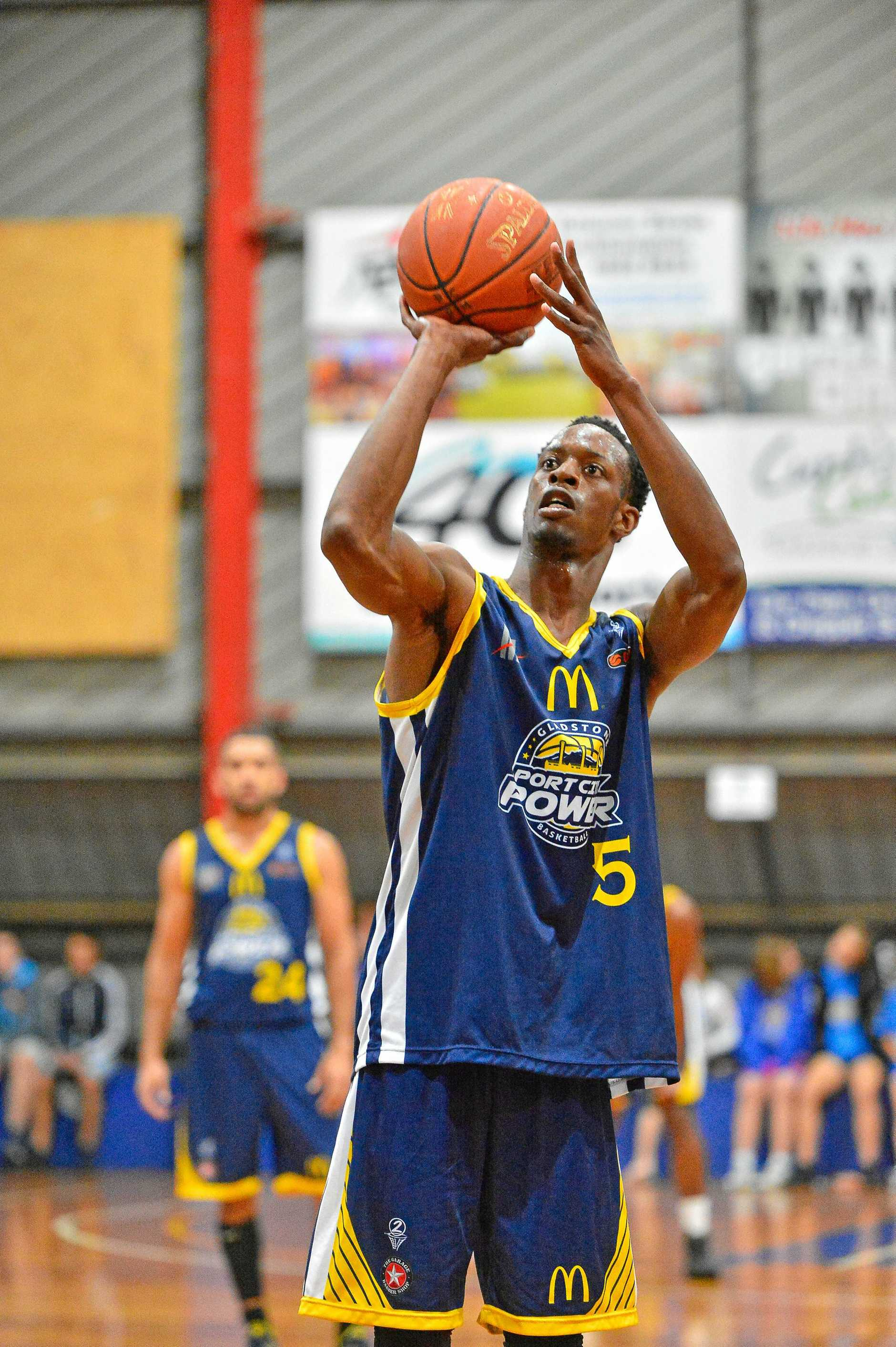 Men's Basketball May 16, 2015. Glasstone Port City Power vs Gold Coast.  Power's #5 Ray Willis was man of the game.  Photo Mike Richards / The Observer