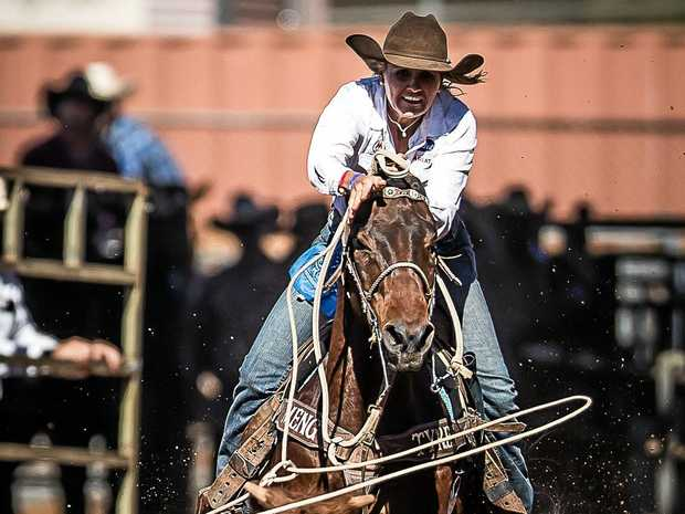Leanne Caban, aboard 24-year-old Gattling, stops the clock in 3.50 seconds to top the aggregate with 7.15 over two head in the ladies breakaway roping.