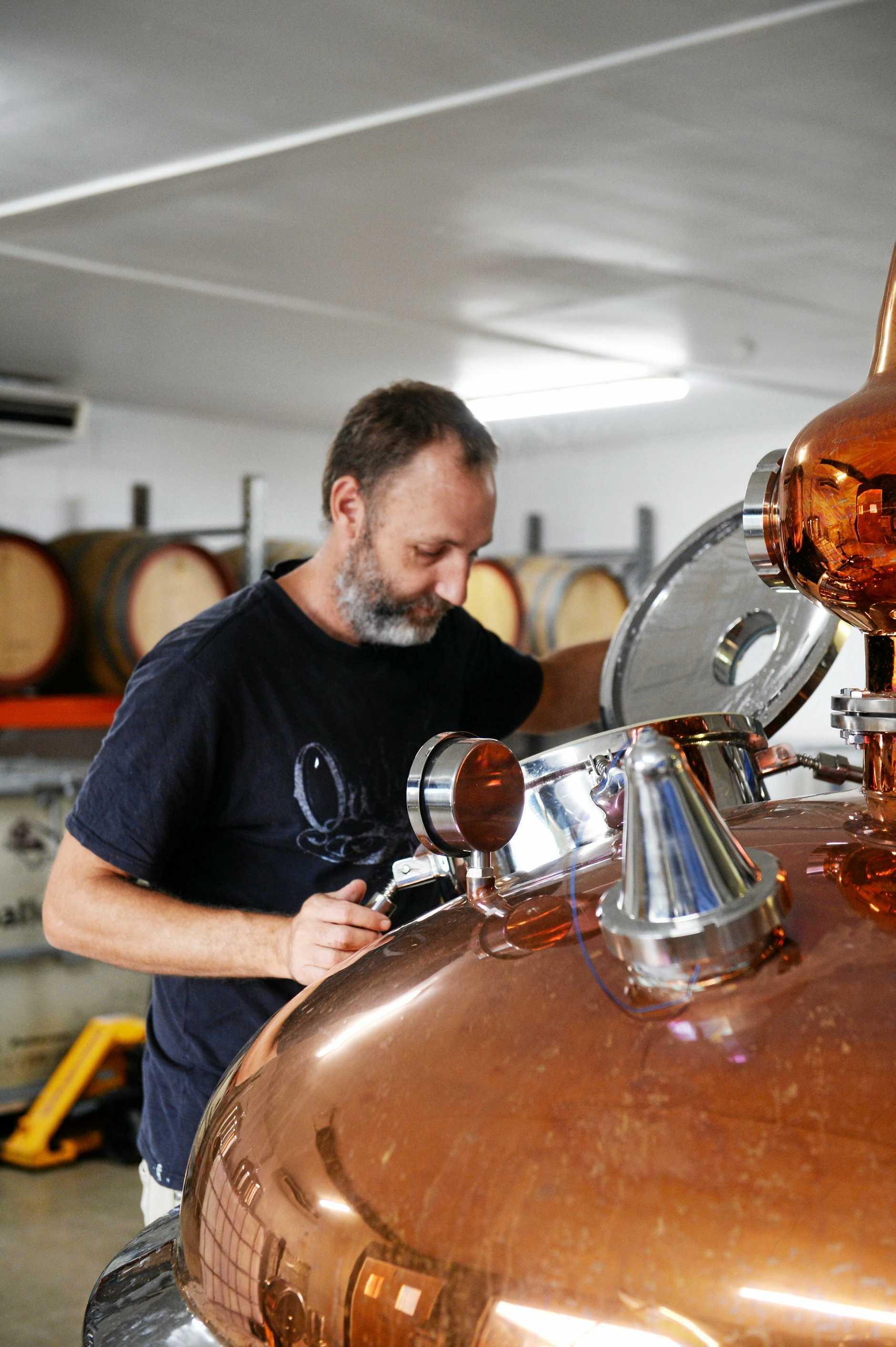 Warren in the rum distillery at Saleyards Hotel.