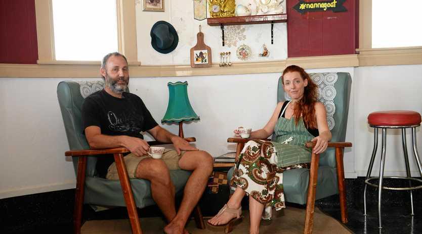 CAFE CULTURE: Warren and Catie Brewer sit in Nanna Goats Corner at Saleyards Hotel.