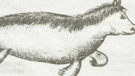 A sketch of a bunyip, seen by Mathew Heeb in 1929.