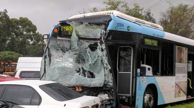A truck and bus have collided in Wetherill Park injuring nine people.