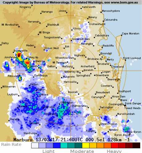 The bureau's 128 km Brisbane (Marburg) Radar Loop showing storm activity at 8am on March 14, 2017.