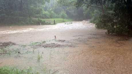 Rising water at Bangalow.