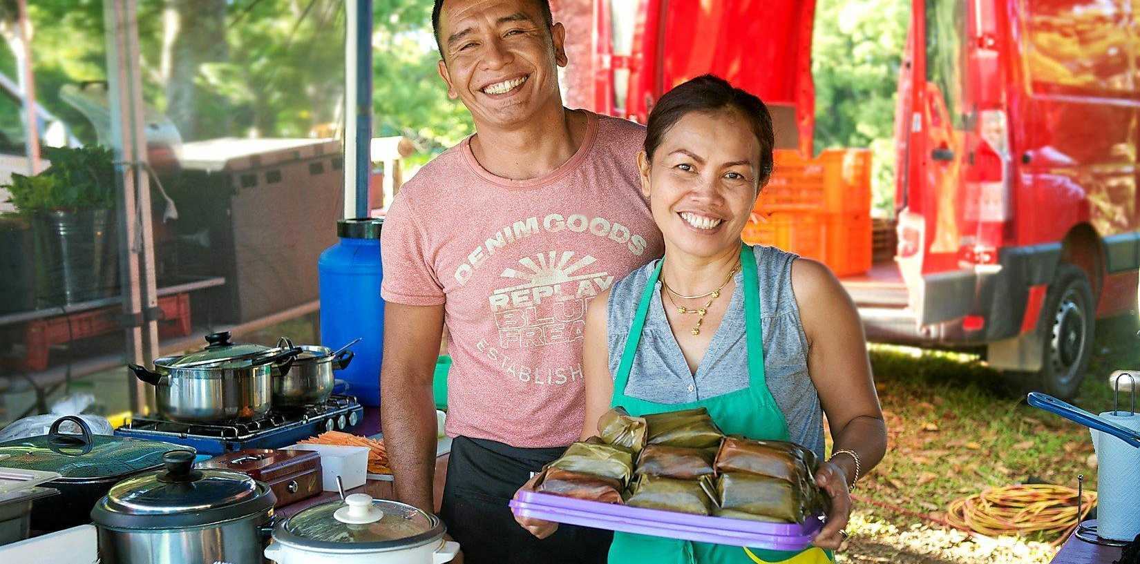 HOME STYLE: Rini Martinings and partner Iwan Wau at the Indonesian Kitchen stall at Mullumbimby Farmers Market.