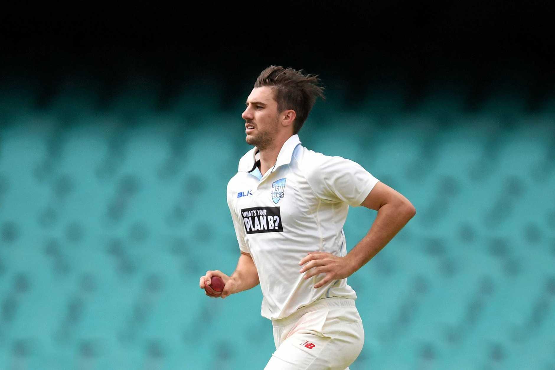 NSW bowler Pat Cummins bowls at the Sydney Cricket Ground last Wednesday