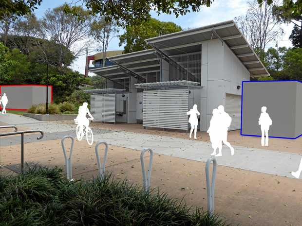An online survey showed 60% of respondents preferred a pop-up kiosk near Shorncliffe Pier to be located in the grassed area (in red), not the concrete area, next to the existing toilet block. Photo: contributed