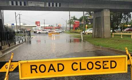 Traffic is blocked after flash flooding under the viaduct in Spring St, South Grafton on Wednesday, 15th March, 2017.