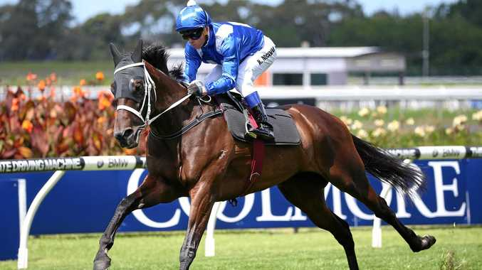 Winx is put through her paces by Kerrin McEvoy in an exhibition at Rosehill last Saturday.