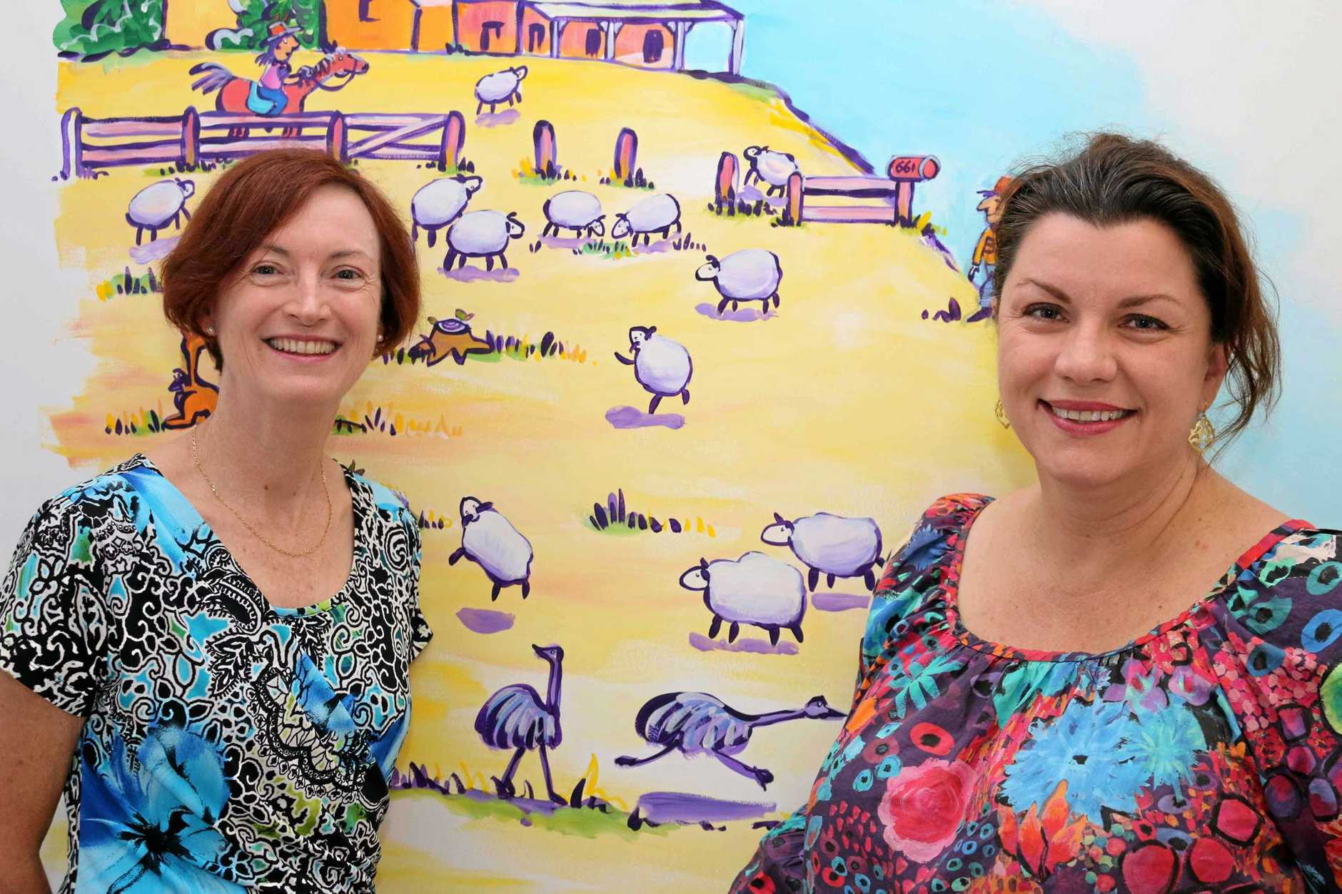 BreastScreen Queensland Toowoomba Service clinical director Dr Patricia Dowling and artist Anna Bartlett