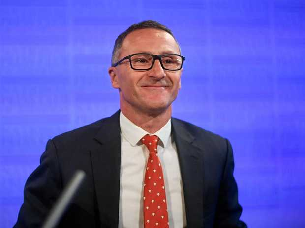 Australian Greens leader Richard Di Natale delivers his speech at the National Press Club in Canberra, on Wednesday.