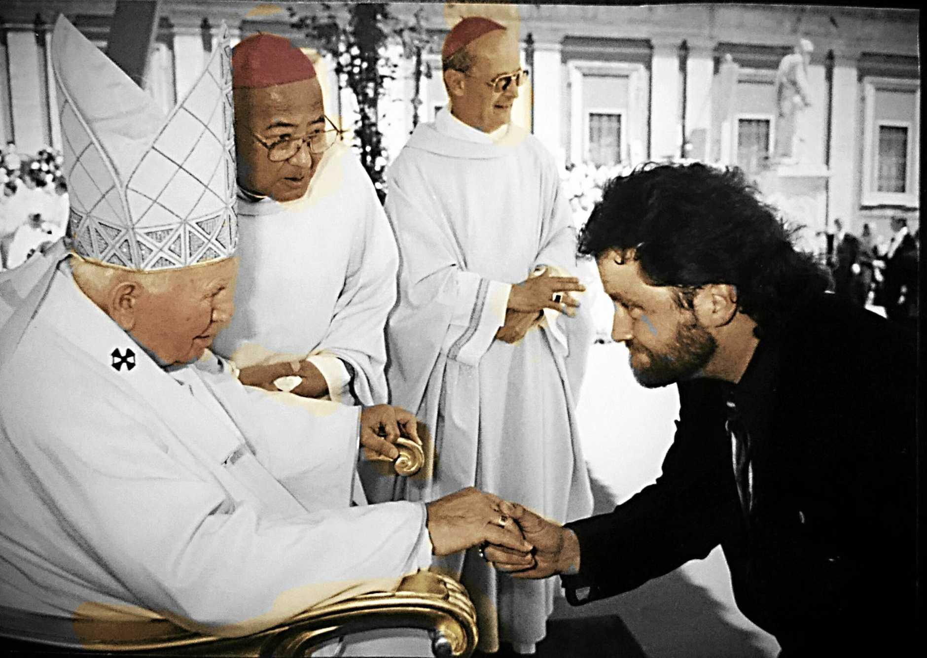 Douglas Webster in 'Les Mis' (above) and meeting Pope John Paul II