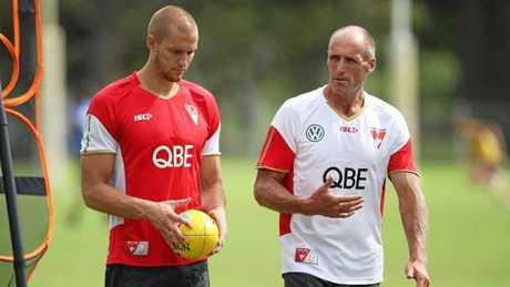 Lockett talks to Sam Reid at Swans training