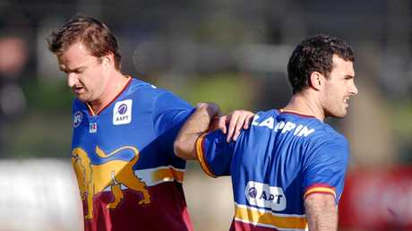 Brisbane Lion Clark Keating in his playing days with Nigel Lappin