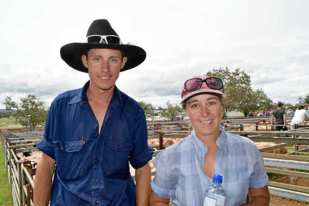 HIGH HOPES: Jamie Worssell and Amber Burton at the sheep sale.
