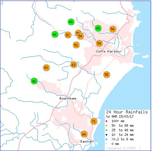 Where the rainfall has been recorded. Figures courtesy the Bureau of Meteorology.