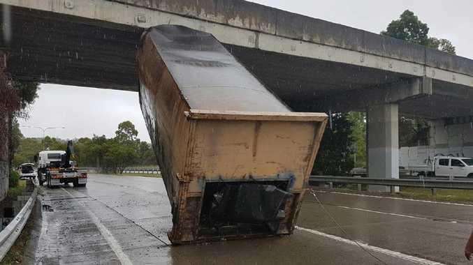 A truck driver lost his load at Bermuda St Burleigh. Photo: Bernard De Winter.