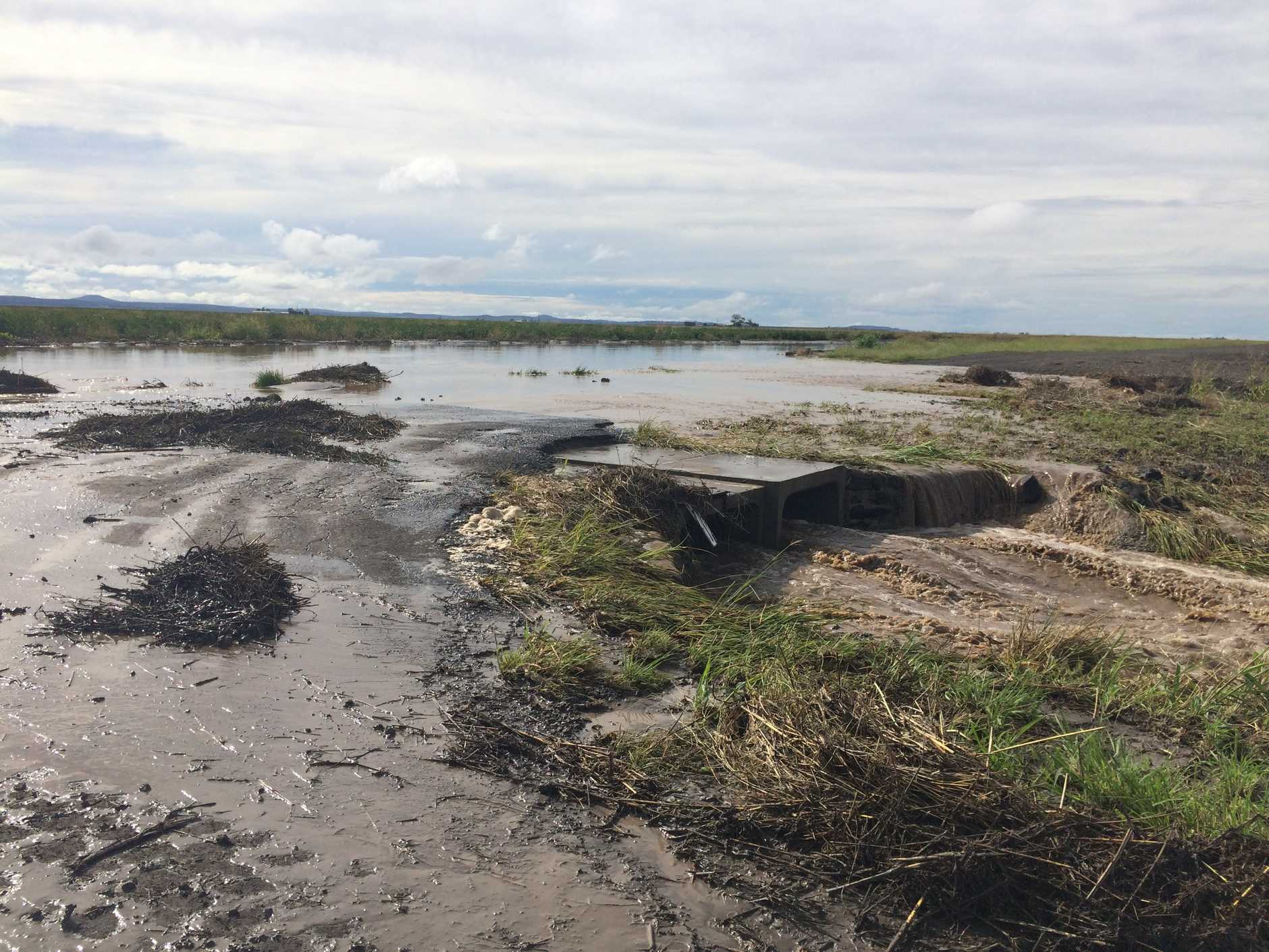 A ute was swept into flood waters off Keeley Rd. Photo of Dooley Rd which runs off Keeley Rd shows the wet muddy floodwater.